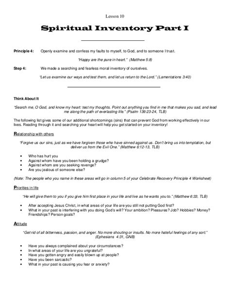 Celebrate Recovery 12 Steps Worksheets by Celebrate Recovery Inventory Worksheet Lesupercoin