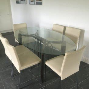 glass dining table and 6 chairs sale glass dining table and 6 leather chairs for sale in