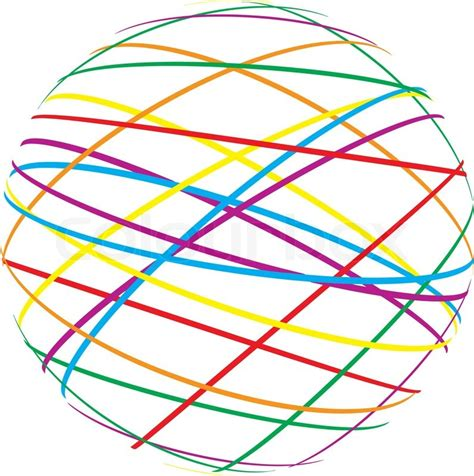 lines and colors abstract sphere from color lines on white background