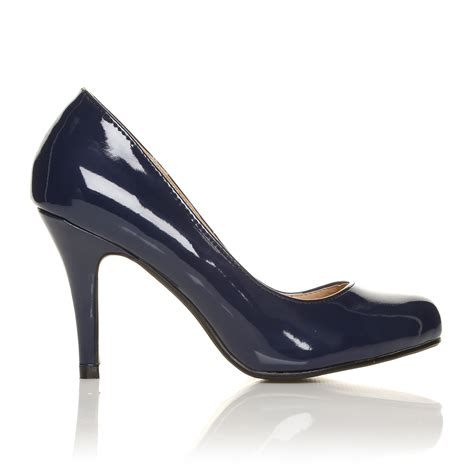 patent leather high heel shoes pearl navy patent pu leather stiletto high heel classic