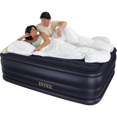 intex 22 quot raised downy airbed mattress with built in electric walmart