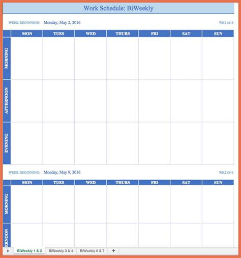 work planner template employee work schedule template bio exle