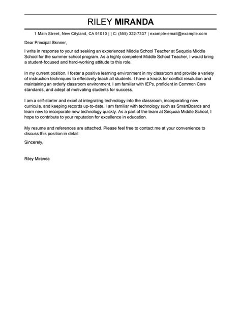 summer teacher cover letter exles education cover letter