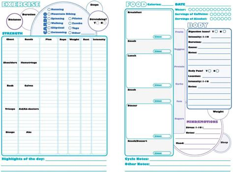 printable daily health journal printable daily journal for health fitness weight loss