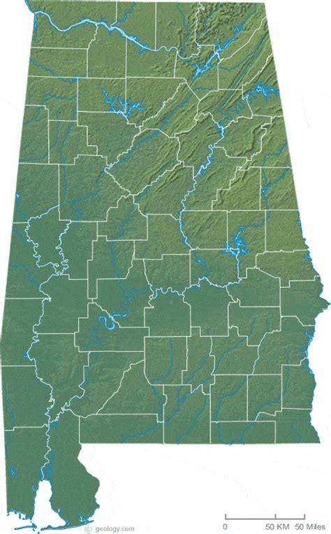 physical map of alabama map of alabama