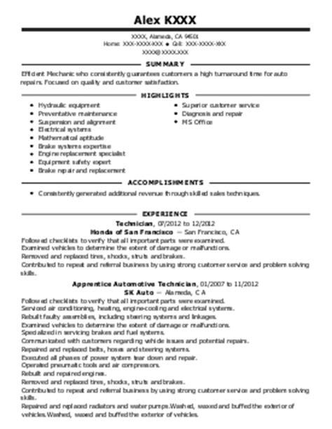 Trailer Mechanic Sle Resume by Trailer Mechanic And Shift Supervisor Resume Exle Cavins Inc Columbus Ohio