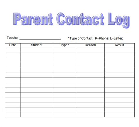parent contact log template search results for parent phone log for teachers