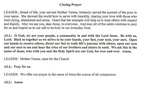 cloaing prayer for christmas progeamme our parish
