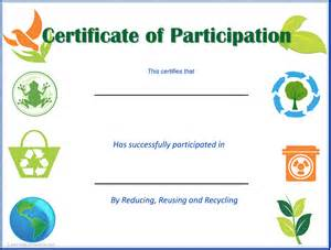 Certificate of participation for earth day