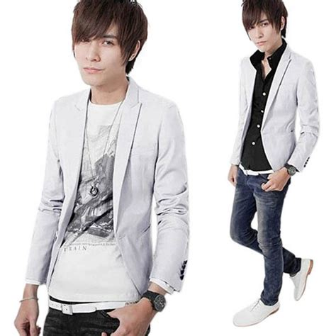 Blazer Fashion Korea korean fashion mens slim fit stylish casual one button suit coat jacket blazer ebay