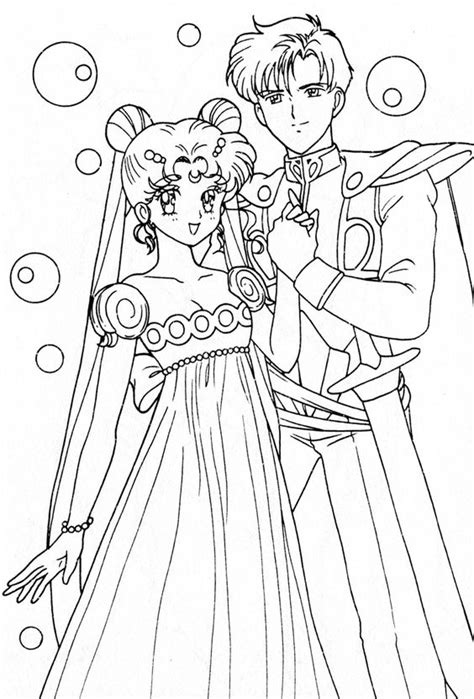 Princess Serenity And Prince Endymion Coloring Page Sailor Moon Princess Coloring Pages Printable