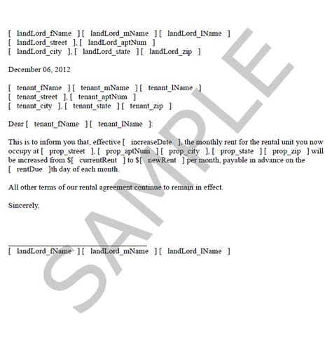 Letter For Increase In Rent From Landlord Sle Rent Increase Letter To Tenant Free Printable Documents
