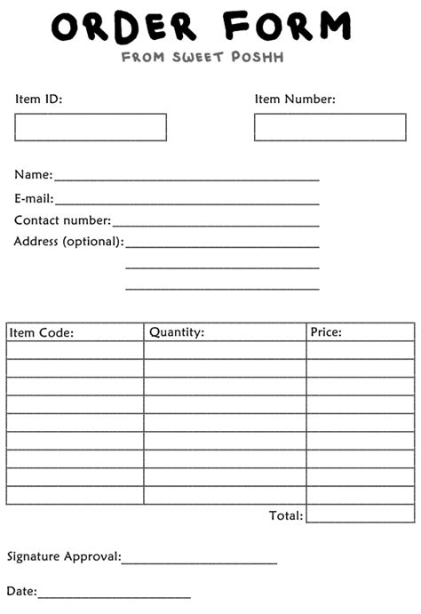 printable purchase order forms blank printable order forms pictures to pin on pinterest