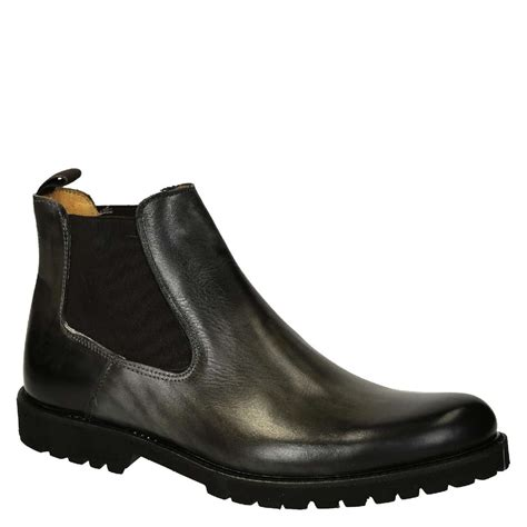 Handmade Chelsea Boots - grey calf leather s chelsea boots with rubber