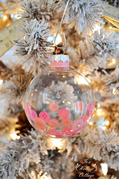 diy clear christmas ornament button and washi tape fox