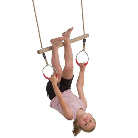 Wooden Trapeze Bar With Steel Rings For Kids Climbing