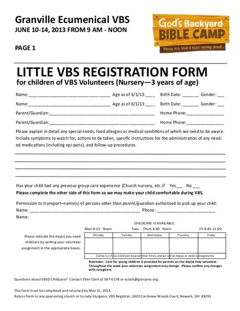 church volunteer info registration card template vbs registration forms 2013