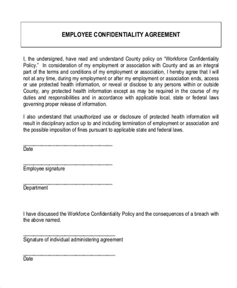 Sle Confidentiality Agreement Form 9 Free Documents In Doc Pdf Employee Confidentiality Agreement Template Free