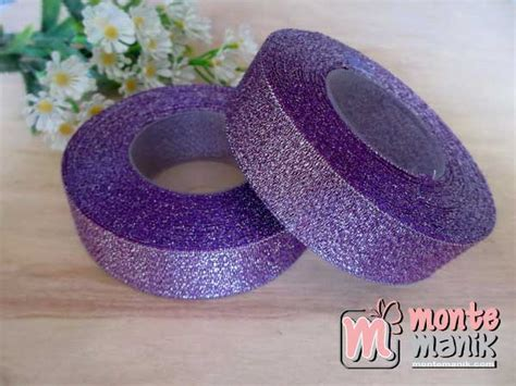 3256m Atasan Top Bahan Rajut Glitter pita glitter ungu 1 inch pita 081 montemanik pusat bahan dan perlengkapan kerajinan tangan