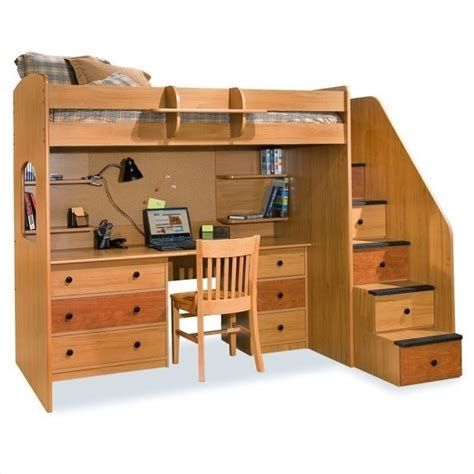 Bunk Loft Bed With Desk Berg Furniture Utica Lofts Loft Bed With 5 Drawer Staircase 23 835 Xx