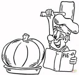 cooking a pumpkin pie coloring page free printable