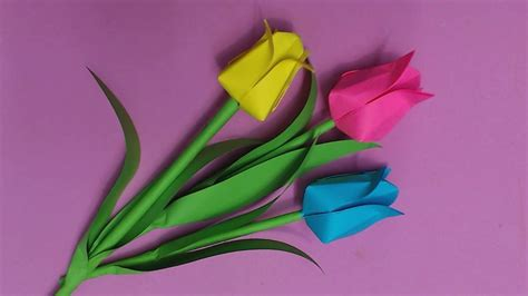 How To Make Colored Paper Flowers - how to make tulip flower with color paper diy paper