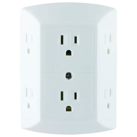 grounded light socket adapter ge 6 outlet grounded adapter spaced tap 50759 the home depot