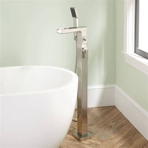 bathtub waterfall dario freestanding waterfall tub faucet with hand shower