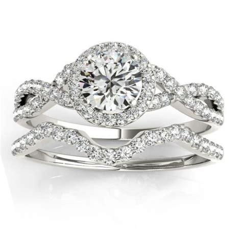 twisted infinity engagement ring bridal set platinum 0