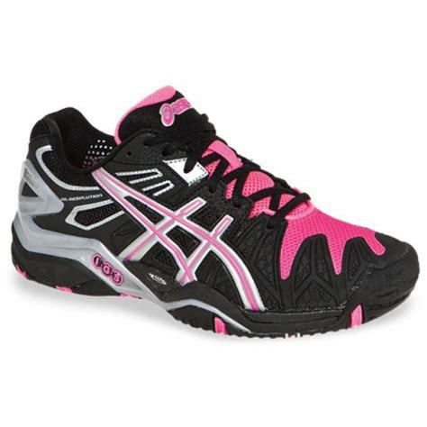 asics gel resolution 5 black pink s tennis shoes