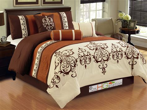 7p striped scroll damask french lily comforter set queen