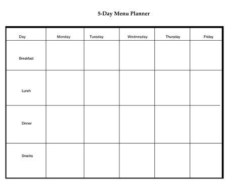 blank meal plan printable 5 day weekly planner printable scope of work template