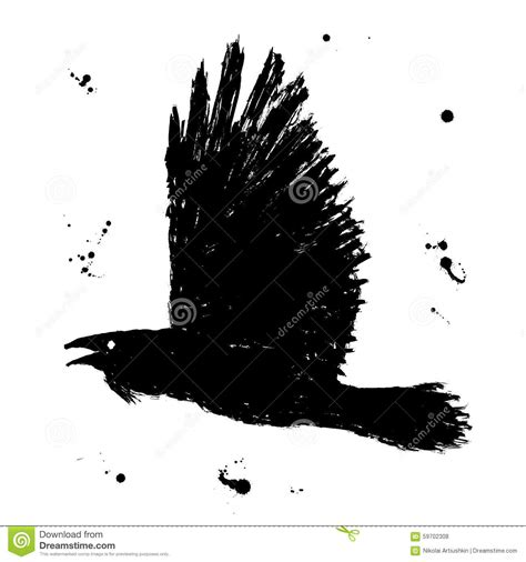 raven grunge hand drawn ink sketch of black stock vector