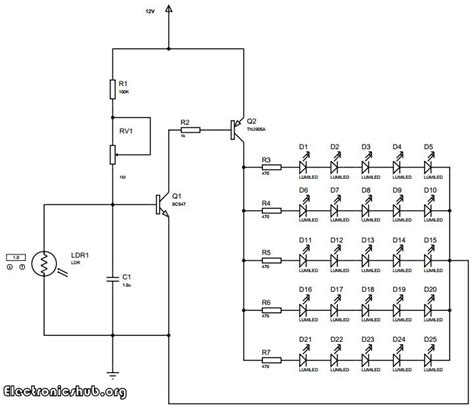 automatic light on off circuit auto intensity control of high powered led lights circuit