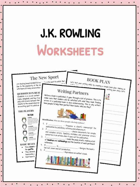 printable worksheets jk j k rowling facts information worksheets for kids