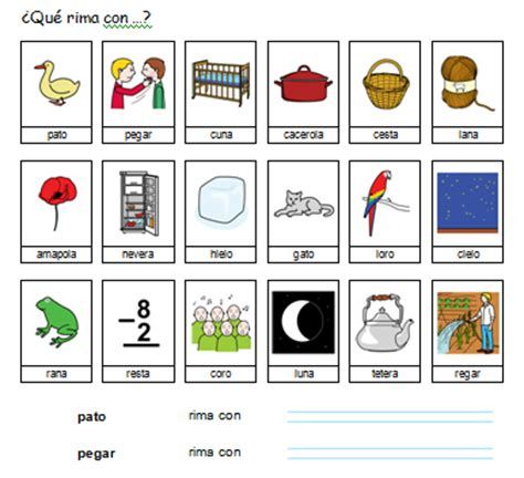 imagenes de palabras que riman para niños materiales para un ni 241 o con autismo palabras que riman