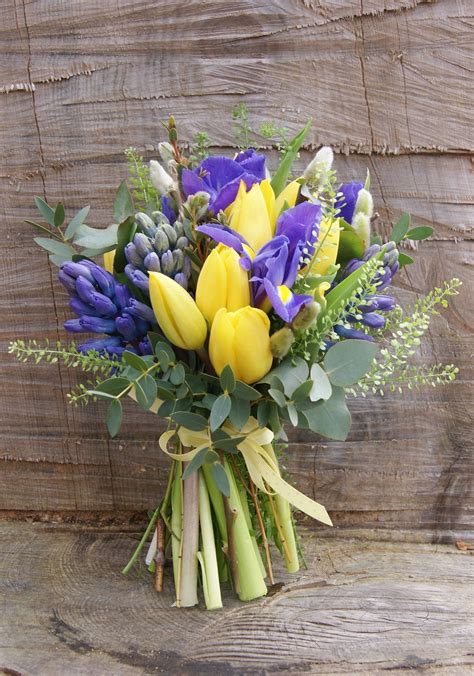 Wedding Bouquet Iris by Bridal Bouquet Of Yellow Tulips Purple
