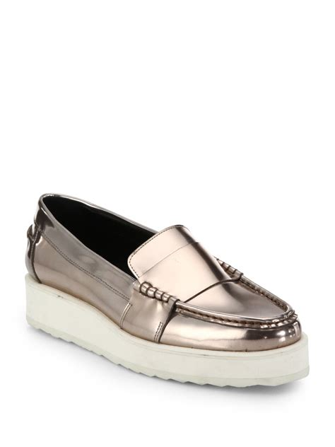 platform loafers lyst hardy metallic leather platform loafers in