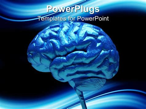 Powerpoint Template Close Up Of Blue Human Brain 3712 Brain Powerpoint Templates For Mac