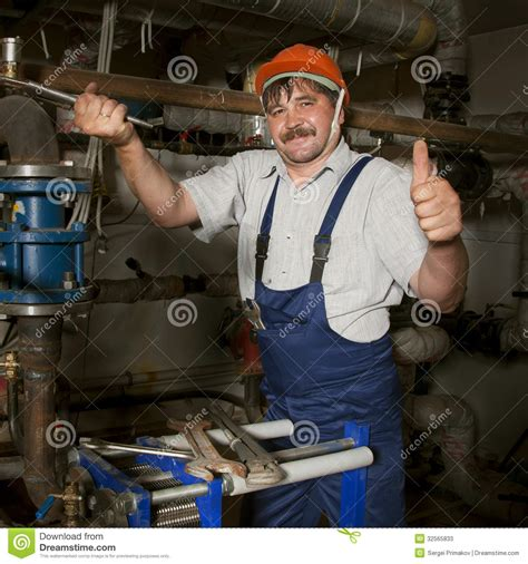 Plumbing Of Thumb by Plumber Giving Thumb Up Stock Image Image Of Laborer