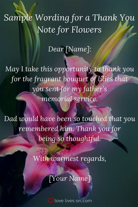 Pdf Thank You Note For Flowers sympathy thank you notes for flowers