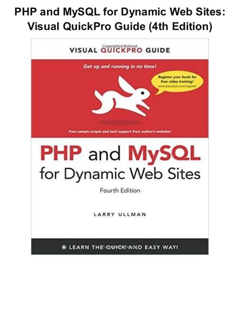 php and my sql for dynamic web visual quickpro guide