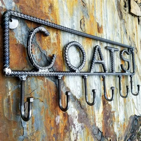 farmersmetals etsy rustic industrial coat rack rebar