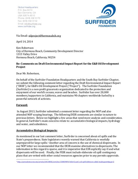 Environmental Report Reliance Letter Surfrider Foundation Draft Environmental Impact Report Comments H