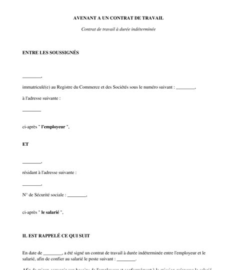Modification Contrat De Travail Apres Cession by Avenant Au Contrat De Travail Clause De Non Concurrence
