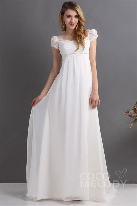Empire Wedding Dress by Cocomelody Sheath Column Empire Sweep Brush Chiffon