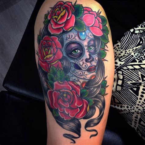 los muertos tattoo traditional dia de los muertos with roses