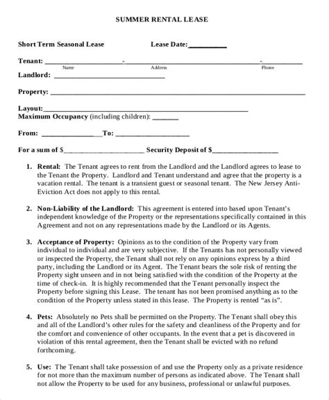 Condo Rental Agreement Template 10 Vacation Rental Agreement Free Sle Exle Format Download Free Premium Templates