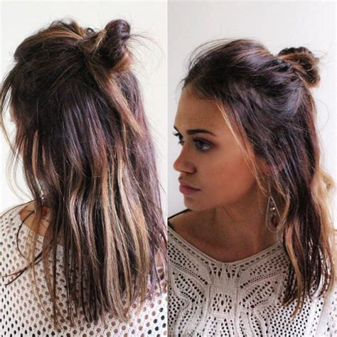 half up half down hairstyles knot the cool girl s answer to the top knot stylecaster