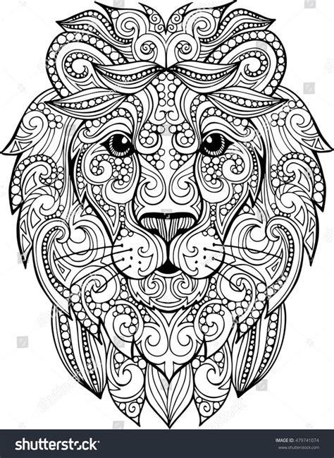 detailed lion coloring pages hand drawn doodle zentangle lion illustration decorative